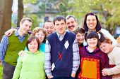 picture of daycare  - group of happy people with disabilities - JPG