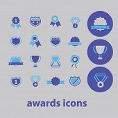 awards, shield, winner, victory, emblem icons, signs, illustrations set, vector