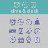 time, clock, minute, hours, icons, signs, illustrations set, vector