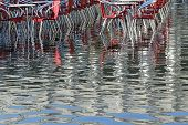 Venice, Red Chairs Of A Restaurant In St Mark Square