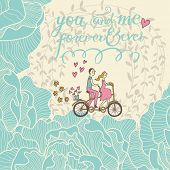 image of tandem bicycle  - You and me forever and ever - JPG