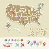 Vintage US map illustration