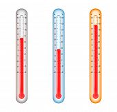 pic of high fever  - A set of thermometers with different temperature readings for low - JPG