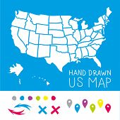 pic of usa map  - Hand drawn US map whith map pins vector illustration - JPG