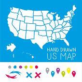 Hand drawn US map