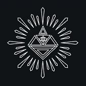 Vector Linear Abstract Hipster Logo Template - Magical Diamond