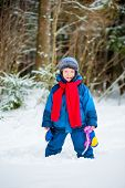 Cheerful Boy 4 Years Old Laughing In Winter