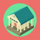 Bank Finance  Flat  Isometric Icon