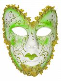 image of venetian carnival  - Carnival mask green Christmas New year Venetian white background isolated object