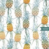 pic of jungle flowers  - Beautiful vector tropical pattern with flowers and pineaples - JPG
