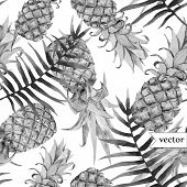 stock photo of jungle flowers  - Beautiful vector tropical pattern with flowers and pineaples - JPG