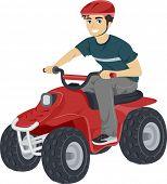 Illustration of a Teenage Boy Driving a Quad Bike