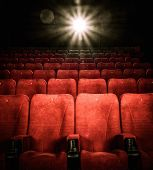 foto of cinema auditorium  - Empty comfortable red seats with numbers in cinema - JPG