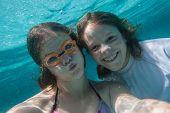 Girls Underwater Selfie