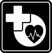 Black Health Care Icon With Heart And Medical Cross