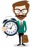 Adult teacher with an alarm clock, vector illustration