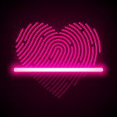 picture of fingerprint  - Heart shaped fingerprint scanner concept - JPG