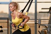 picture of studio  - Young attractive woman training with htrx fitness straps in the gym - JPG
