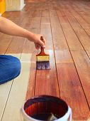 Hand Painting Oil Color On Wood Floor  Use For Home Decorated ,house Renovation And Housing Construc