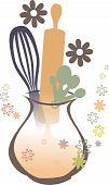 Baking kitchen utensils flowered vase