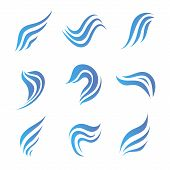 vector set of flow water blue icons