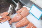 picture of piraeus  - Salmon on ice in store - JPG