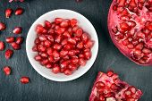Red pomegranate seeds.