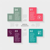 Vector plus sign infographic. Template for diagram, graph, presentation and chart. Medical healthcar