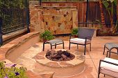 Custom firepit and waterfall
