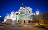 Pope John Paul Ii Statue In Front Of Cathedral Almudena On A Spring Night In Madrid