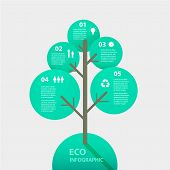 Vector green tree sign infographic. Template for diagram, graph, presentation and chart. Eco concept