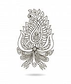 Beautiful Indian floral ornament for your business. Hand draw line art ornate flower design.