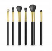 Set of make-up brushes on white background. Vector illustration