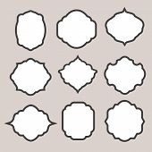 Set of   silhouette frames or cartouches for badges