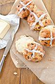 Hot Cross Buns With Butter