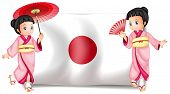 stock photo of japanese flag  - Illustration of two japanese girls and a flag - JPG