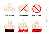 stock photo of wheat-free  - Brown Vector Wheat Free Signs isolated on white background - JPG