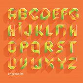 Origami Orange Flat Font. Vector Alphabet Set. Latin letters