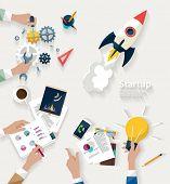 Startup concept. Flat design.