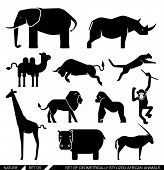 Set of various African animal icons: elephant, rhino, hippo, lion, puma, camel, bull, giraffe, monkey, gorilla. Vector illustration.