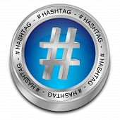 stock photo of hashtag  - glossy blue hashtag button on white background - JPG
