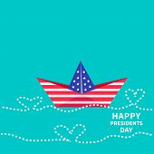 Presidents Day Background Paper Boat With Heart Wave. Dash Line. Flat Design