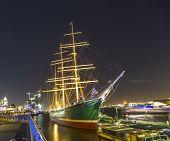 Historic Sailor Rickmer Rickmers By Night