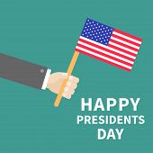 Hand With American Flag Presidents Day Background Flat Design Card
