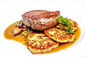 foto of cheese-steak  - Sirloin steak with cottage cheese pie and parsley - JPG
