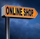 web shop online internet web shop shopping road sign