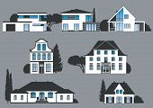 stock photo of manor  - icons of different houses manors and villas - JPG