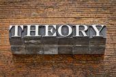 theory  word in mixed vintage metal type printing blocks over grunge wood