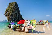 Boat Food Stalls On Railay Beach.
