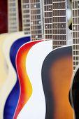 Colorful acoustic guitars